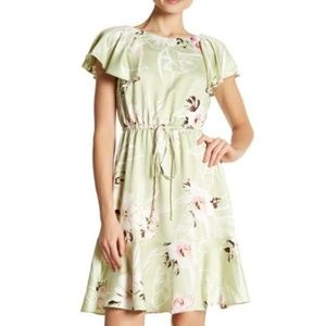 Nine West Ruffle Sleeve Floral Fit & Flare Dress